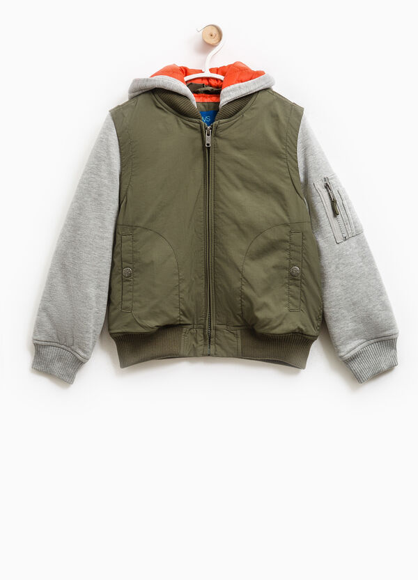Jacket with hood and fleece sleeves | OVS