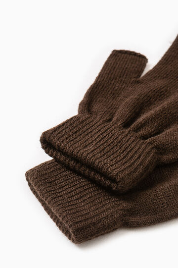 Fingerless gloves with ribbing, Brown, hi-res