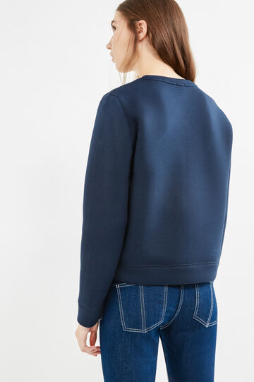 Stretch viscose sweatshirt with embroidery and patches, Navy Blue, hi-res