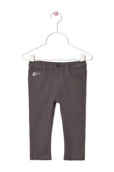 Stretch sequinned trousers, Dark Grey, hi-res