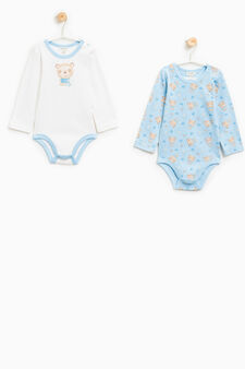 Set of two bodysuits with long sleeves, White/Light Blue, hi-res