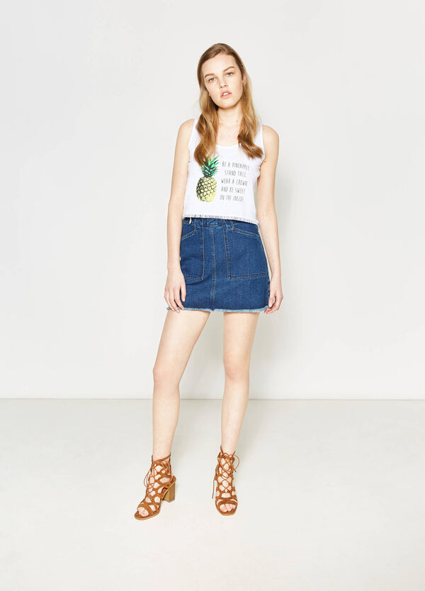 Fringed crop top with print | OVS