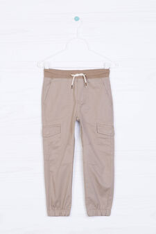 Five-pocket drawstring trousers, Light Brown, hi-res