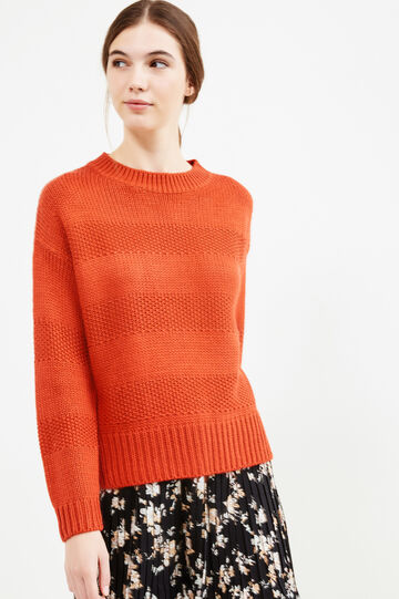 Striped knit pullover, Orange, hi-res