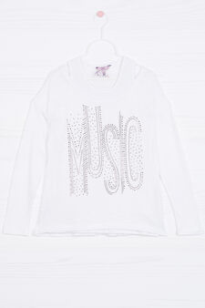 Viscose knitted pullover with layered effect, White, hi-res