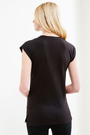 T-shirt misto cotone con paillettes, Nero, hi-res