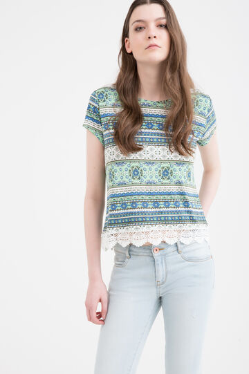 Patterned viscose T-shirt with insert