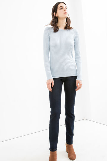 Ribbed and striped pattern pullover, Light Blue, hi-res