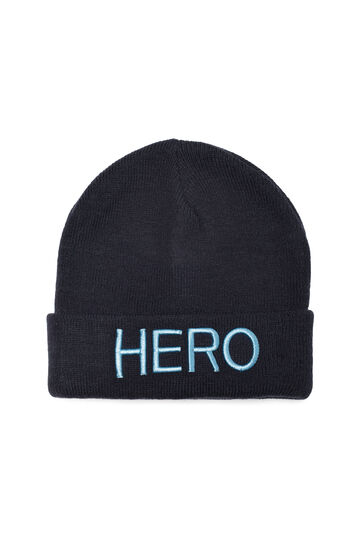 Beanie cap with printed lettering, Navy Blue, hi-res