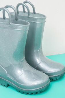 Stivaletti anti pioggia glitterati, Grigio argento chiaro, hi-res