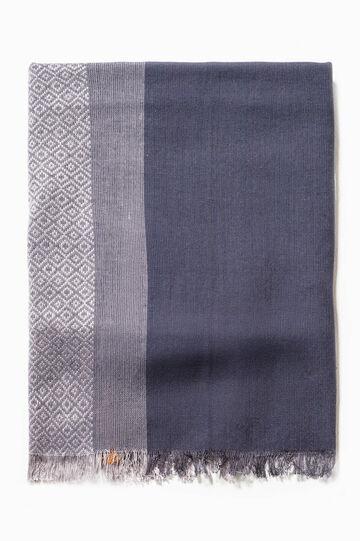 Sciarpa fantasia geometrica, Bianco/Blu, hi-res