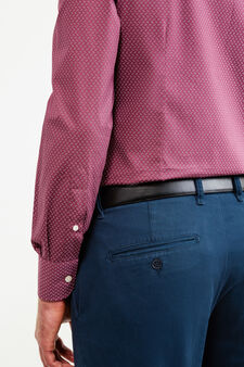 Slim-fit formal shirt in cotton, Claret Red, hi-res