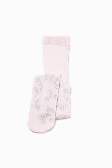 Glitter floral patterned tights, Pink, hi-res