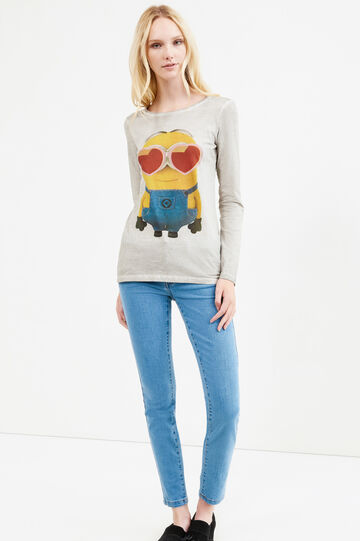 Minions printed T-shirt in 100% cotton, Grey, hi-res