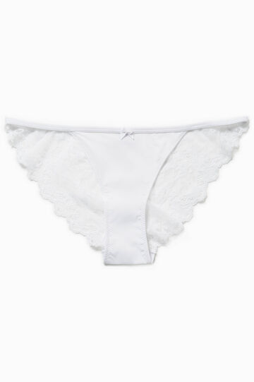Tanga with lace back and bow, White, hi-res
