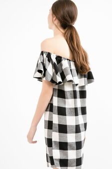 Short dress with check pattern, White/Black, hi-res