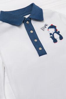 100% cotton bodysuit with collar, Cream White, hi-res