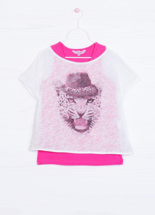 T-shirt stampata cotone finto doppio | OVS