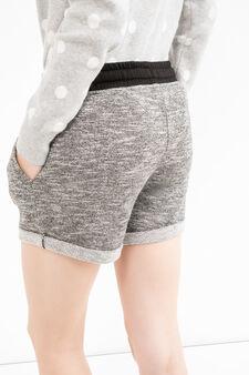 Mélange fleece shorts with drawstring, Grey Marl, hi-res