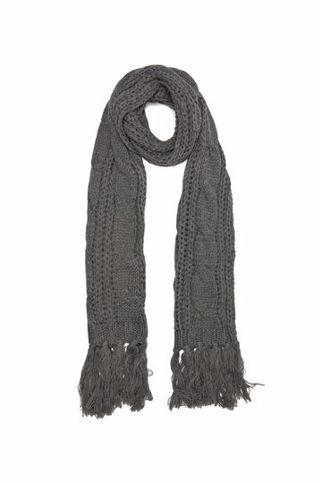 Knitted scarf with fringe, Grey, hi-res