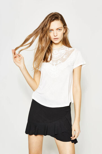 Viscose blouse with lace, White, hi-res