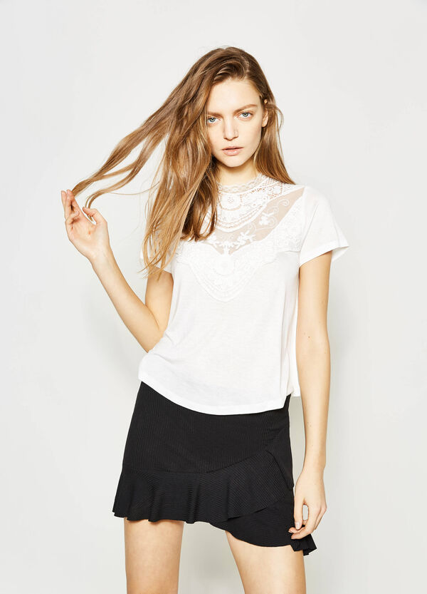 Viscose blouse with lace | OVS