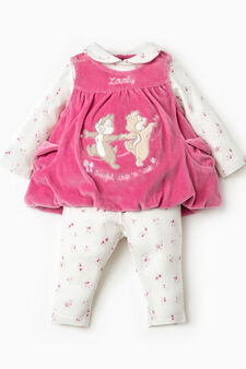 Chip&Dale onesie and dress outfit, Fuchsia, hi-res