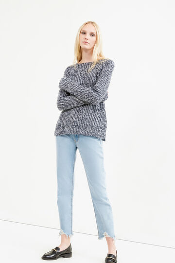 Knitted mélange pullover, White/Blue, hi-res