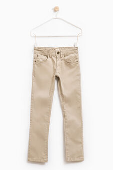 Solid colour stretch cotton trousers, Beige, hi-res
