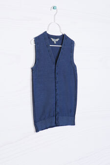 100% cotton knitted waistcoat., Blue, hi-res