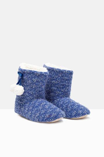 Pantofole stivaletto con pon pon, Blu bluette, hi-res