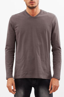 Long-sleeved T-shirt with V neck, Grey, hi-res
