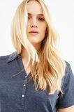 Curvy solid colour 100% cotton polo shirt, Navy Blue, hi-res