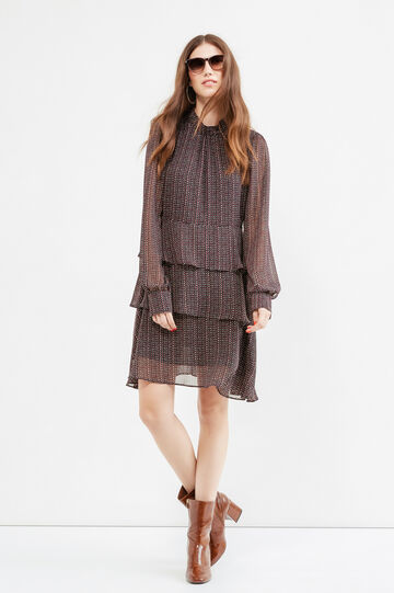 Patterned dress with ruffles, Claret Red, hi-res