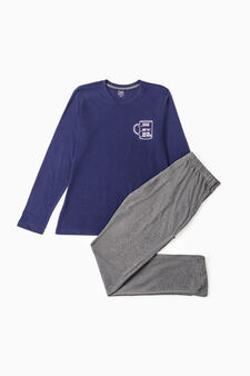 Cotton pyjamas with print on chest, Ocean Blue, hi-res
