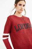 Pullover tricot con stampa lettering, Rosso, hi-res