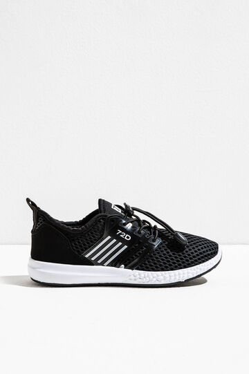 Sneakers with mesh upper and patch, Black, hi-res