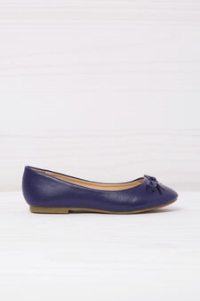 Leather look ballerina flats with bow, Navy Blue, hi-res