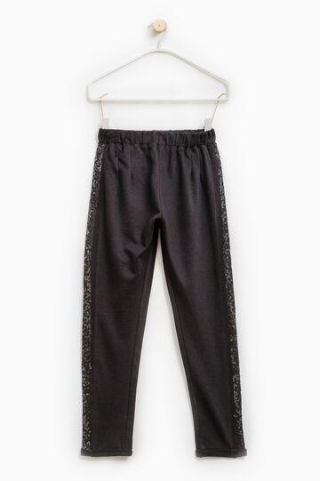 Pantaloni tuta cotone con paillettes, Nero, hi-res