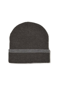 Beanie cap with turn-up brim in contrasting colour, Slate Grey, hi-res