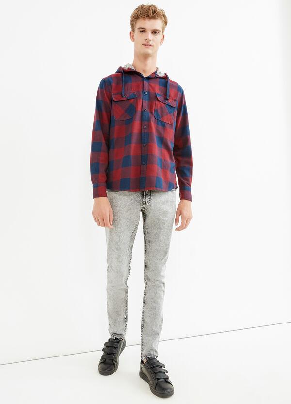 Camicia casual a quadri con cappuccio | OVS