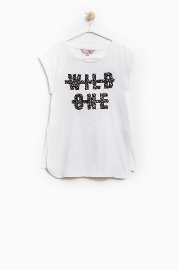 100% cotton T-shirt with sequins, White, hi-res