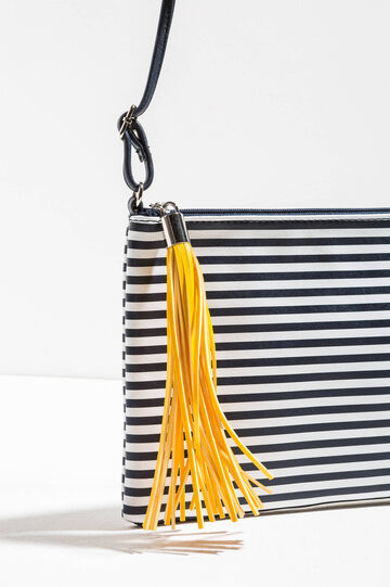 Striped shoulder bag with tassel, White/Blue, hi-res