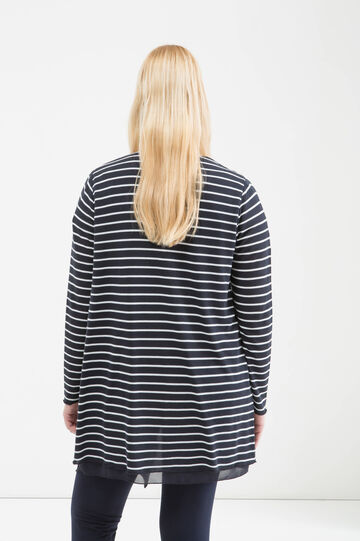 Curvy striped cardigan, White/Blue, hi-res