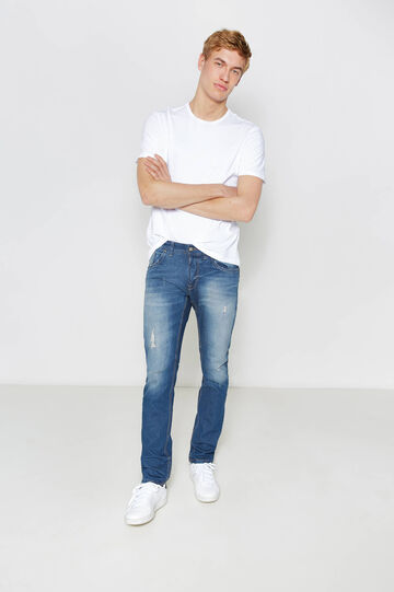 Slim-fit worn-effect jeans with rips, Dark Wash, hi-res