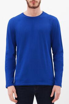 Plain long-sleeved T-shirt, Electric Blue, hi-res