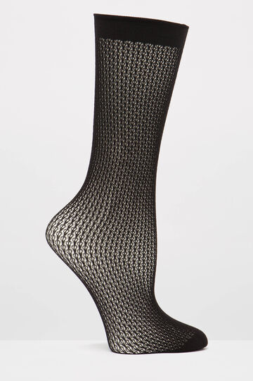 Solid colour openwork pop socks, Black, hi-res