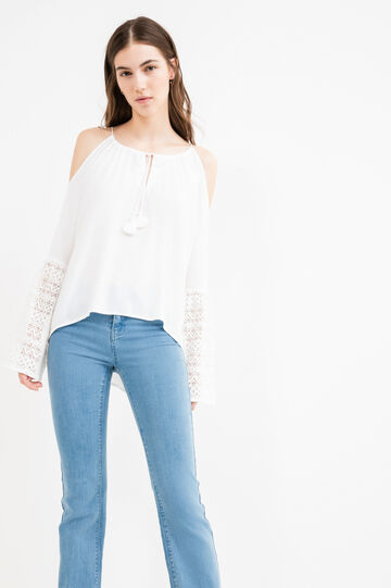 100% viscose blouse with lace and tassels, White, hi-res