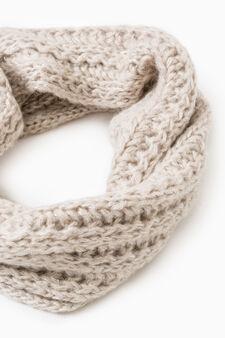 Knitted neck warmer with lurex, Chalk White, hi-res