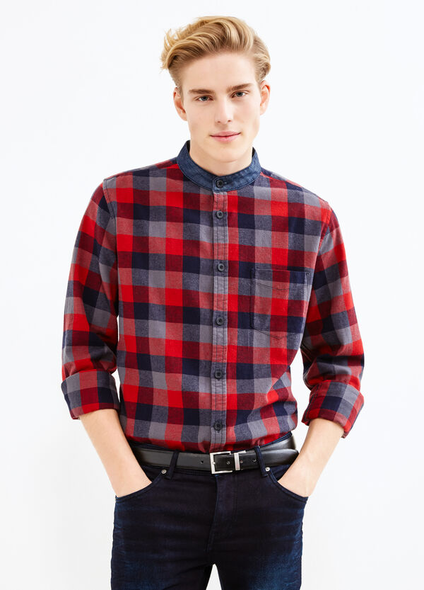 Camisa de cuadros con cuello mao en tejido vaquero | OVS
